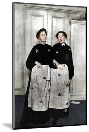 Emmeline and Christabel Pankhurst, English suffragettes, in prison dress, 1908-Unknown-Mounted Photographic Print