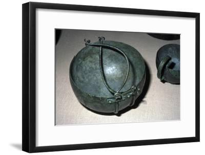 Celtic bronze kettle with double handles, Unternack, Bavaria, Halstatt period, 750-600 BC-Unknown-Framed Giclee Print