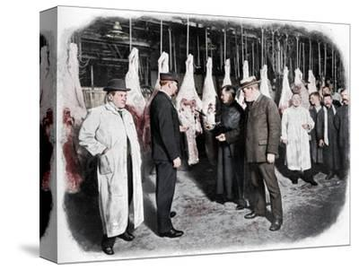 Inspecting meat at Smithfield Market, City of London, c1903 (1903)-Unknown-Stretched Canvas Print