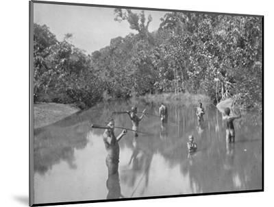 'Australian Aborigines Spearing Fish', 19th century-Unknown-Mounted Photographic Print