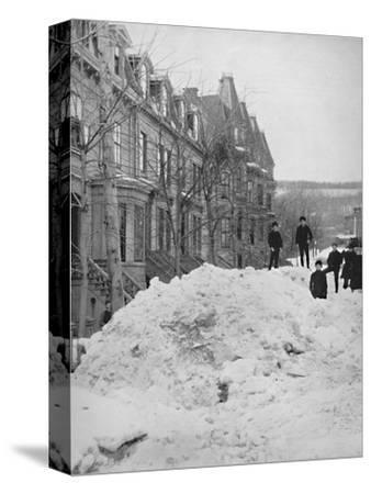 'A Montreal Street in Winter', 19th century-Unknown-Stretched Canvas Print