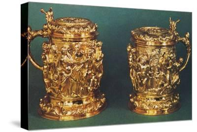 'Silver-gilt tankards, c.1661', 1953-Unknown-Stretched Canvas Print