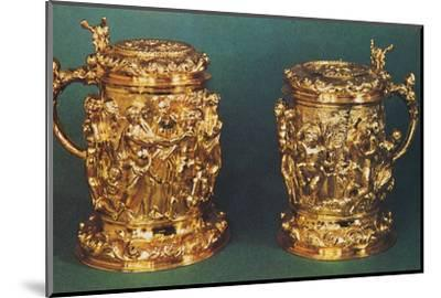 'Silver-gilt tankards, c.1661', 1953-Unknown-Mounted Photographic Print