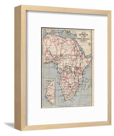 'Map of Africa in 1891 showing Routes of Explorers'-Unknown-Framed Giclee Print