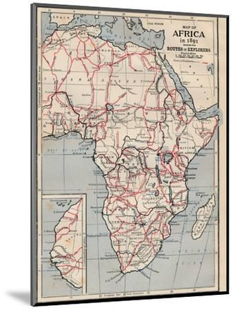 'Map of Africa in 1891 showing Routes of Explorers'-Unknown-Mounted Giclee Print