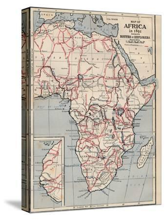 'Map of Africa in 1891 showing Routes of Explorers'-Unknown-Stretched Canvas Print
