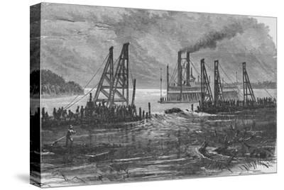 'Removing Snags by Dredging', 1883-Unknown-Stretched Canvas Print