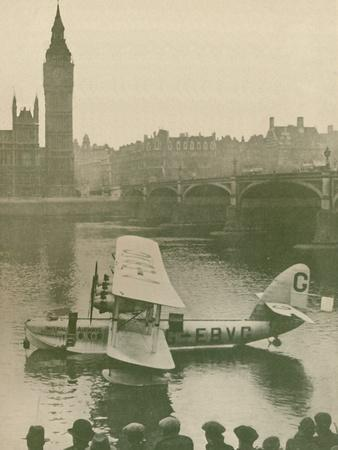 'The 'Calcutta' Flying-Boat Moored in the Thames opposite the Houses of Parliament', 1927-Unknown-Framed Photographic Print