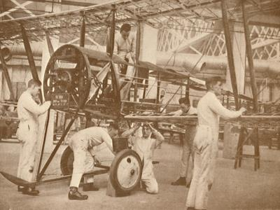 'RAF Apprentices Rigging a Plane at the Technical School, Halton', Buckinghamshire, 1927-Unknown-Framed Photographic Print