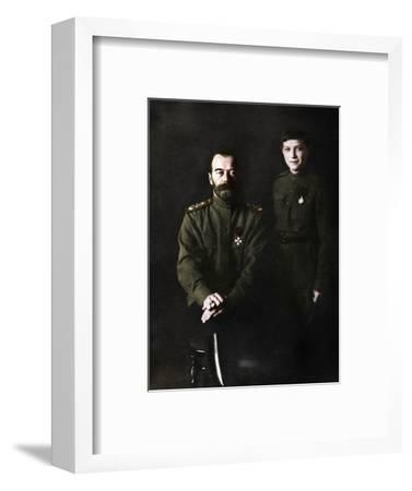 Nicholas II, Tsar of Russia and his son, Alexei, in military uniform, 1915-Unknown-Framed Photographic Print
