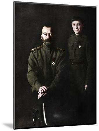 Nicholas II, Tsar of Russia and his son, Alexei, in military uniform, 1915-Unknown-Mounted Photographic Print