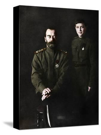 Nicholas II, Tsar of Russia and his son, Alexei, in military uniform, 1915-Unknown-Stretched Canvas Print
