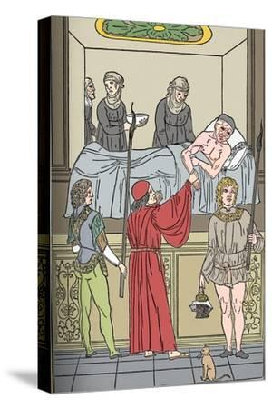 'Ketham: Fasciculus Medicinae, Venice, 1493, The Treatment Of The Plauge', c1493-Unknown-Stretched Canvas Print