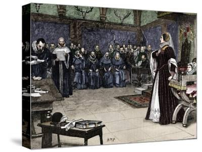 Trial of Mary Queen of Scots in Fotheringhay Castle, 1586 (1905)-Unknown-Stretched Canvas Print