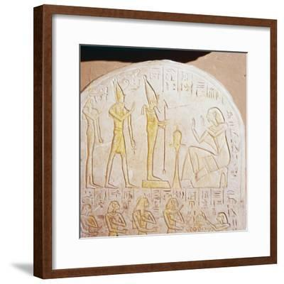 Egyptian stele, Deceased worships Osiris who stands on pedestal representing Maat-Unknown-Framed Giclee Print