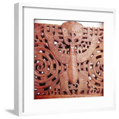Maori Woodcarving representing panel detail of Ancestor-Unknown-Framed Giclee Print