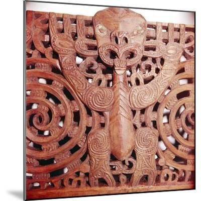 Maori Woodcarving representing panel detail of Ancestor-Unknown-Mounted Giclee Print