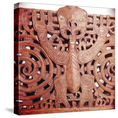 Maori Woodcarving representing panel detail of Ancestor-Unknown-Stretched Canvas Print