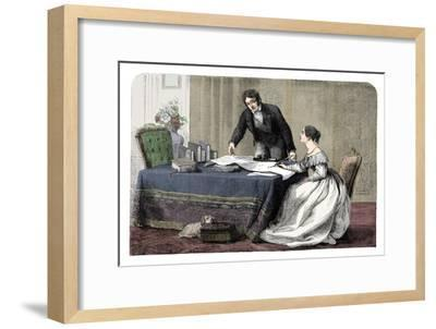Lord Melbourne (1779-1848) instructing a young Queen Victoria 1819-1901), 1837 (c1895)-Unknown-Framed Giclee Print