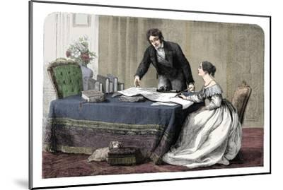 Lord Melbourne (1779-1848) instructing a young Queen Victoria 1819-1901), 1837 (c1895)-Unknown-Mounted Giclee Print