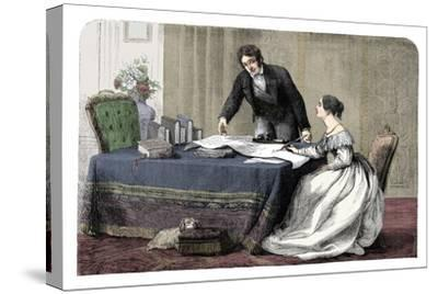 Lord Melbourne (1779-1848) instructing a young Queen Victoria 1819-1901), 1837 (c1895)-Unknown-Stretched Canvas Print