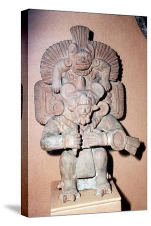 Pottery. Bat-God: pottery with red paint. Zapotec culture, Mexico, 300-900 AD-Unknown-Stretched Canvas Print