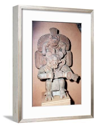 Pottery. Bat-God: pottery with red paint. Zapotec culture, Mexico, 300-900 AD-Unknown-Framed Giclee Print