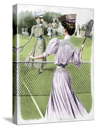 Two lawn tennis costumes for October, 1905-Unknown-Stretched Canvas Print