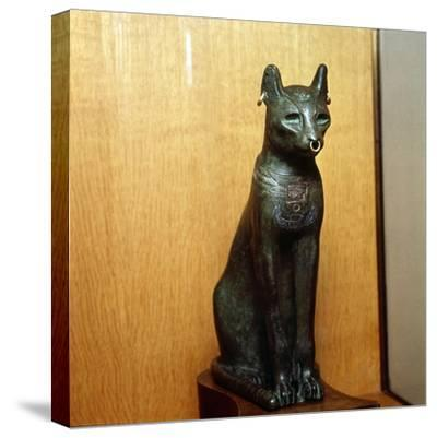 Egyptian Bronze Cat, Sacred to the Goddess Bastet, Roman Period. c664BC-332 BC-Unknown-Stretched Canvas Print