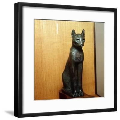 Egyptian Bronze Cat, Sacred to the Goddess Bastet, Roman Period. c664BC-332 BC-Unknown-Framed Giclee Print