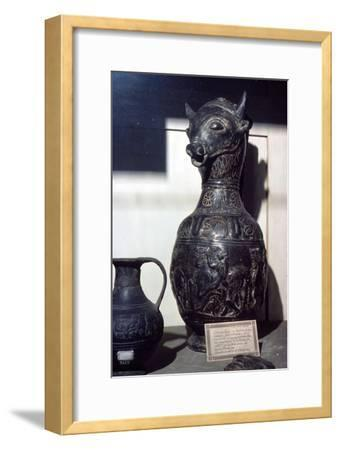 Etruscan Vase in shape of Bull's head, c6th century BC-Unknown-Framed Giclee Print