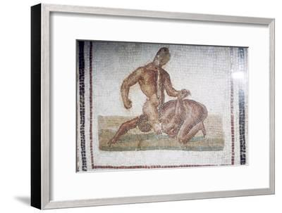 Roman Mosaic of Wrestlers, c2nd-3rd century-Unknown-Framed Giclee Print
