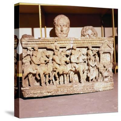 Etruscan Sarcophagus of Funeral procession approaching a shrine-Unknown-Stretched Canvas Print