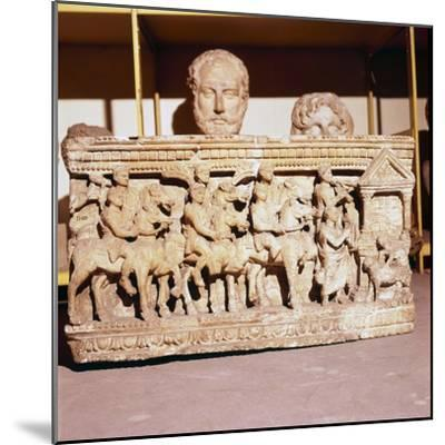 Etruscan Sarcophagus of Funeral procession approaching a shrine-Unknown-Mounted Giclee Print