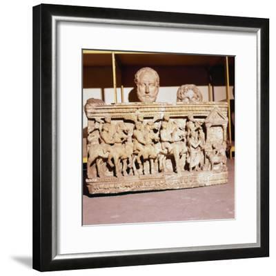 Etruscan Sarcophagus of Funeral procession approaching a shrine-Unknown-Framed Giclee Print