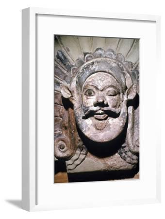 Etruscan Terracotta Antefix, Head of Silenus, from sanctuary of Portonaccio, 6th-5th century BC-Unknown-Framed Giclee Print