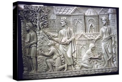 Moses Strikes the Rock, and Christ in the Garden, early Christian Sarcophagus, 4th century-Unknown-Stretched Canvas Print