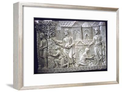 Moses Strikes the Rock, and Christ in the Garden, early Christian Sarcophagus, 4th century-Unknown-Framed Giclee Print