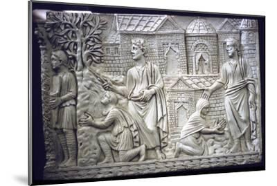 Moses Strikes the Rock, and Christ in the Garden, early Christian Sarcophagus, 4th century-Unknown-Mounted Giclee Print