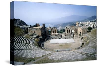 GreekGreek Ampitheatre, seashore and Mt Etna, Taormina, Sicily, 3rd century, (c20th century)-Unknown-Stretched Canvas Print
