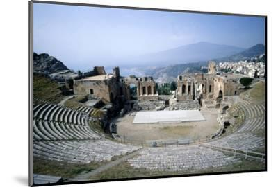 GreekGreek Ampitheatre, seashore and Mt Etna, Taormina, Sicily, 3rd century, (c20th century)-Unknown-Mounted Photographic Print