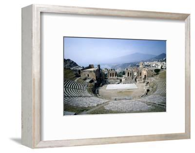 GreekGreek Ampitheatre, seashore and Mt Etna, Taormina, Sicily, 3rd century, (c20th century)-Unknown-Framed Photographic Print