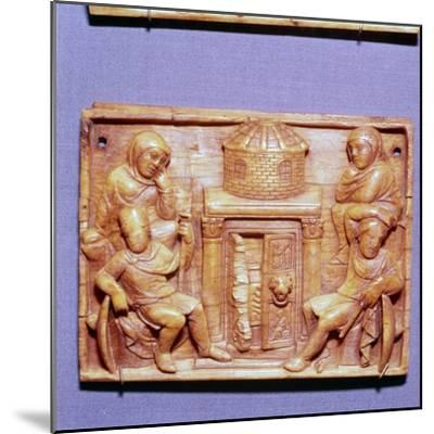 Tomb of Jesus on Easter Morning, Wood Panel, Byzantine casket, 5th century-Unknown-Mounted Giclee Print