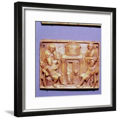 Tomb of Jesus on Easter Morning, Wood Panel, Byzantine casket, 5th century-Unknown-Framed Giclee Print