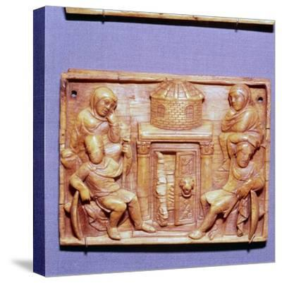 Tomb of Jesus on Easter Morning, Wood Panel, Byzantine casket, 5th century-Unknown-Stretched Canvas Print