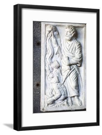 Moses strikes the Rock, for water in the desert, Early Christian Sarcophagus, c4th century-Unknown-Framed Giclee Print