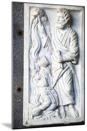 Moses strikes the Rock, for water in the desert, Early Christian Sarcophagus, c4th century-Unknown-Mounted Giclee Print