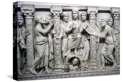 Christ handing scrolll of new law to St Peter while looking at St Paul, mid-4th century-Unknown-Stretched Canvas Print
