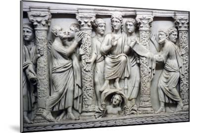 Christ handing scrolll of new law to St Peter while looking at St Paul, mid-4th century-Unknown-Mounted Giclee Print