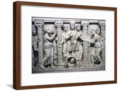 Christ handing scrolll of new law to St Peter while looking at St Paul, mid-4th century-Unknown-Framed Giclee Print